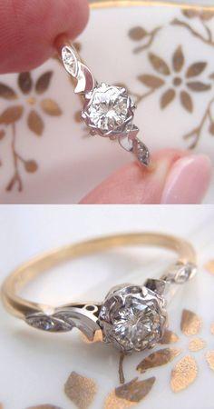 Unique Vintage Diamond Engagement Ring.