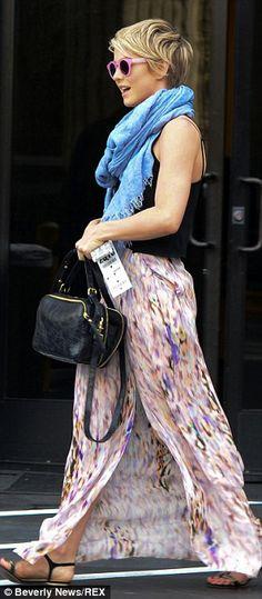 short hair julianne hough, pixie cut outfits, maxi skirts