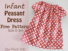 This simple peasant dress pattern is sized 0-3m (approximately 8-12lbs), and is an easy project that is great for all sewing abilities, even beginners.