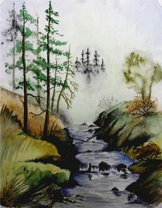 Misty Creek by Jimmy Smith (watercolor) Print available for purchase.   ---*--- Beautiful foggy look