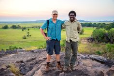 Threatened Species Commissioner Gregory Andrews with Manbiyarra Nayinggul in Kakadu National Park.