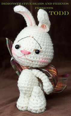 ~Todd~ a White Anime Bunny rabbit Jointed amigurumi by cindysickler, via Flickr