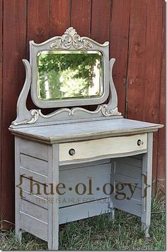 Annie Sloan - Paris Gray. Dresser turned into a dressing table....Cute!
