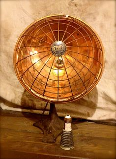 Vintage Copper Table Lamp / Radiant Heater 1920s / Repurposed. $165.00, via Etsy.