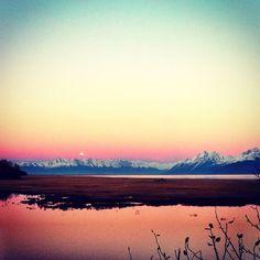 moonrise.  knik, alaska