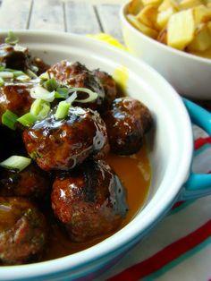 Grilled honey mustard meatballs