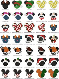 15 christmas Mickey Mousehead  Machine Embroidery by AlwaysDarling, $4.99