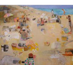 "MARK MULHERN, UNDER THE UMBRELLA, Oil on Linen, 56 x 68"""
