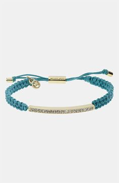 Michael Kors Adjustable Cord & Pavé Bracelet in turquoise and gold $55