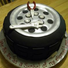 Tire cake with tools