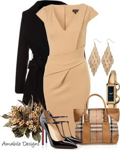 """""""Work wear"""" by amabiledesigns on Polyvore....I ADORE this classic look. The cut of the dress is sure to flatter any women. Plus all the pieces are interchangeable...and the shoes are amazing!!!"""