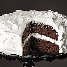 Chocolate Cake with Fluffy Cream Cheese and Marshmallow Frosting  http://www.myrecipes.com/recipe/chocolate-cake-fluffy-frosting-50400000124445/