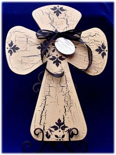 Large hand painted crackle style wooden cross by acrossandbeyond, $45.00