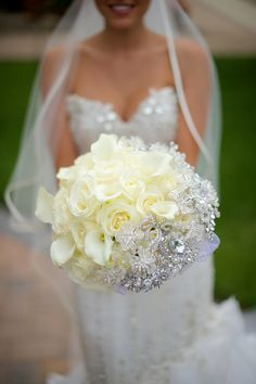 Gorgeous Bouquet of White Roses and Crystals|Glam Westmount Country Club Wedding|Photographer:  grasmere hills productions