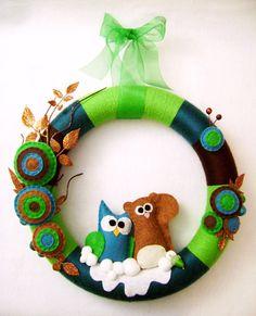 Yarn and Felt Wreath  Yule Log  Owl and Squirrel  by RedMarionette, $75.00