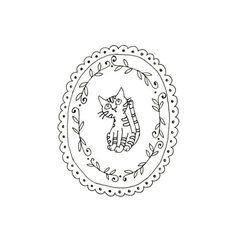 Cat Embroidery Pattern Kitty Digital Downloadable