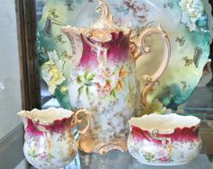 RS Prussia Chocolate Pot Set Sugar Creamer Early Years Circa 1888-1894 Art Nouveau Victorian Handpainted Floral Flowers Fuschia Bouquet