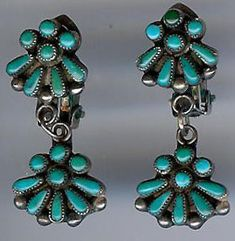 """VINTAGE ZUNI STERLING SILVER TURQUOISE CLIP ON DROP EARRINGS  $245.00  Vintage Zuni turquoise earrings are signed EOA. Measure 1-5/16"""" by 9/16"""". Weighs 6.6 grams."""