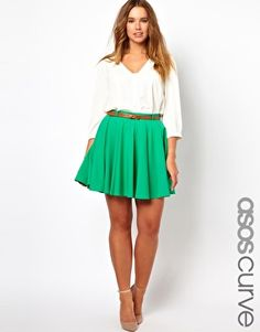 LOVE this look from head to toe- ASOS CURVE Exclusive Skater Skirt With Belt