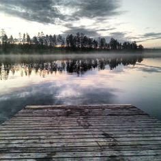 Foggy, peaceful lake in Finland