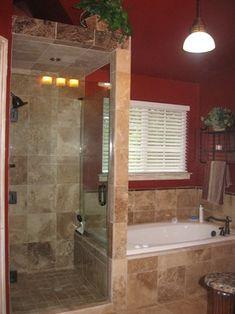 bathroom designs, no door shower | Walk in shower with frameless shower door, and travertine tile