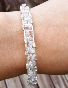 Wire jewelry    Quartz Chip Silver Filled Cuff by jewpanesey on Etsy, $27.95
