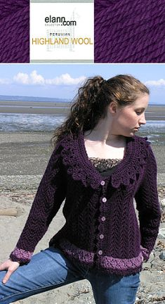Lacy Top Down V-Neck Cardigan free knit pattern