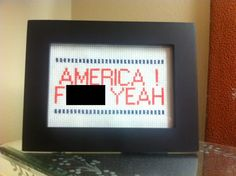 AMERICA F YEAH cross stitch 35x5 by UnexpectedSewing on Etsy, $13.99