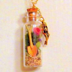 Two Inch Bottle Pendant Gold Plated Necklace