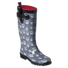 owls :) rainboot, style, women owl, owl rain, rain boot, grey, owl boot, boots, owls