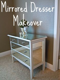 DIY Mirrored Dresser Makeover Saved a mirror from bathroom redo. Received an old dresser for free. Had my local glass guy cut the mirror to fit, $20. Painted the dresser- Regent Metallic Silver base- from Ralph Lauren paints. Picked up some simple handles from the hardware store $15 Used liquid Nails Mirror adhesive to attach mirrors to dresser.  #homedecor  #furniture #interiordesign