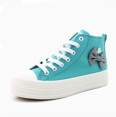 Lady sneakers sweet side bowknot pure color shoes YD-6089-Lovelyshoes.net