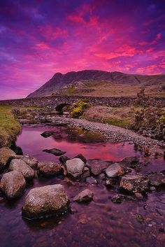 Wasdale, Lake District, UK : Like how this photographer captured the pink & purple colors in the sky and the water.