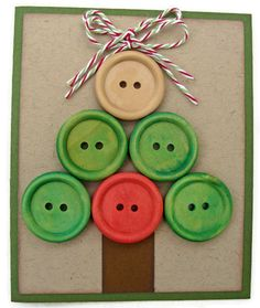 Christmas in July Sale Button Christmas Tree Holiday Card, Red, Green, Brown. $2.63, via Etsy.