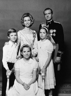 1978 - Queen Sofia and King Juan Carlos of Spain with their children, from left to right: Infante Felipe, Infante Elena and Infante Cristina.