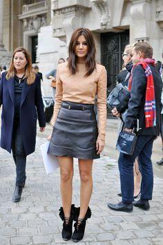 leather skirt & beige