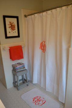 custom monogram, monogrammed bathroom, monogram shower curtain, momogram, monogram curtains, monogram bath, monogrammed shower curtain, shower curtains, closet curtain