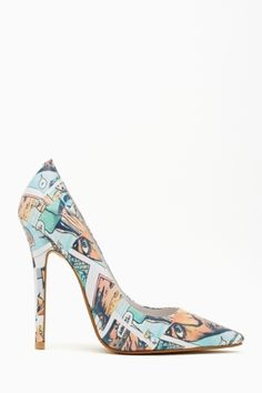 "These are sooooo cute!!!  Cartoon print pumps - how cute would these be with a LBD - talk about a ""pop"" of color!!!"