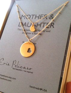 Beautiful Mother & Daughter Gold Necklace Set - such a heart-warming gift for mom heartwarm gift, black mom daughter, wedding dress jewels, mother daughter wedding gift
