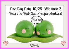 Friday Only! #TNPLH #Win 2 Peas in Pod Salt & Pepper Shakers #missiongiveaway