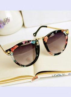 Black Sun glasses - Flora Print Cat Eye Sunglasses