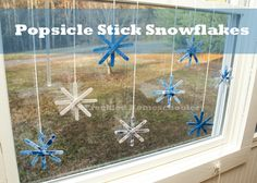 These Popsicle Stick Snowflakes are an easy and fun project for children. They can be hung anywhere. You can help glue a magnet on the back so they can be placed on a refrigerator and it would make a sweet gift to grandparents..!!