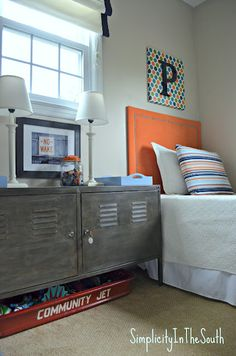Love the lockers, the wagon underneath & easy looking headboard. Home Sweet Home on a Budget:  Linkup Features