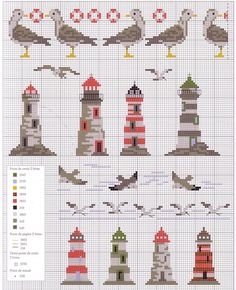 borduren, galleryru, mer oceanpoisson, crossstitch, broderi, lighthouse cross stitch, cross stitches, embroideri, plastic canva