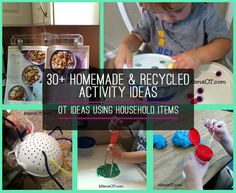30+ Homemade & Recycled Activity Ideas: OT bloggers share therapy activities using household items. (Thanks to @Christie {MamaOT} for permission to use photos).