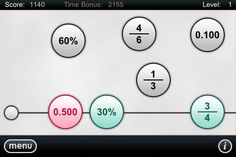 Here's an app where students learn about fractions, decimals, and percents by ordering equivalent fractions, decimals, and percents on a number line. The app features multiple levels where the player must drag circles with either a percent, decimal or fraction onto a number line in the correct sequence.