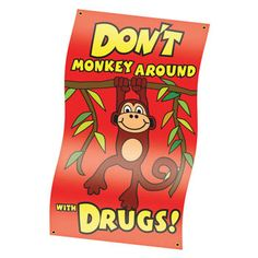 Red Ribbon Week: Don't monkey around with drugs banner! $29.95