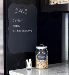 chalkboard decal on side of fridge...great idea!