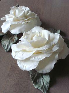 ~~ White Shabby Roses ~~  Handmade cold porcelain roses.  https://www.facebook.com/www.myshabbypaperroses.nl