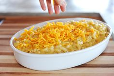 Step 10: Next step is toppings. Good macaroni and cheese has cheese on top too.
